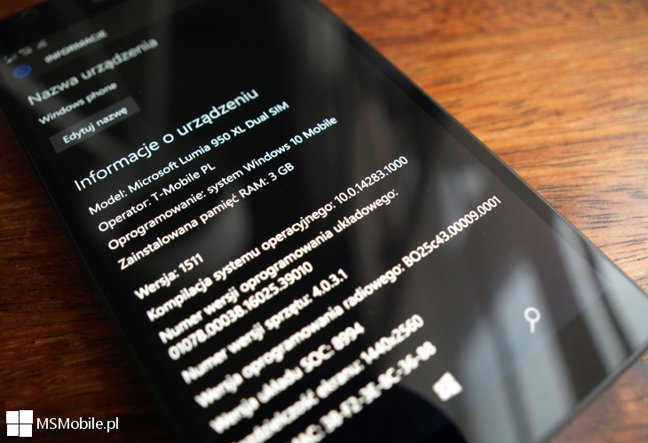 Windows 10 Mobile Build 14283 - Lumia 950 XL