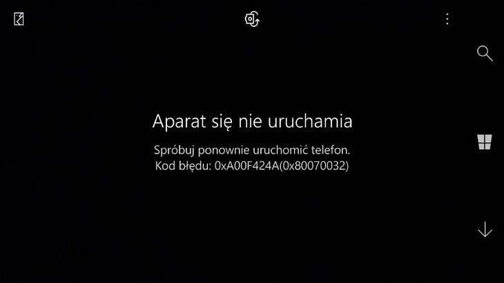 Aparat Windows nie działa Build 14322