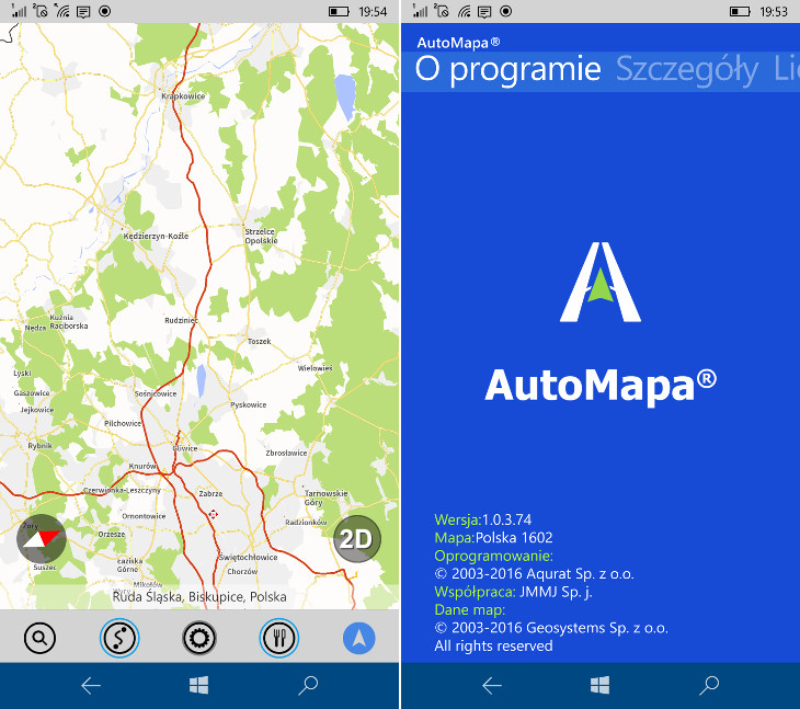 AutoMapa RC2 Windows 10 Mobile