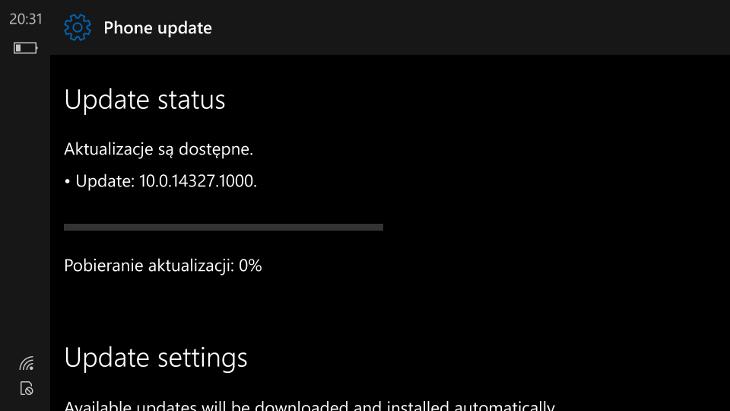 Windows 10 Mobile Build 14327