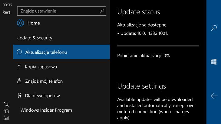 Windows 10 Mobile Build 14332