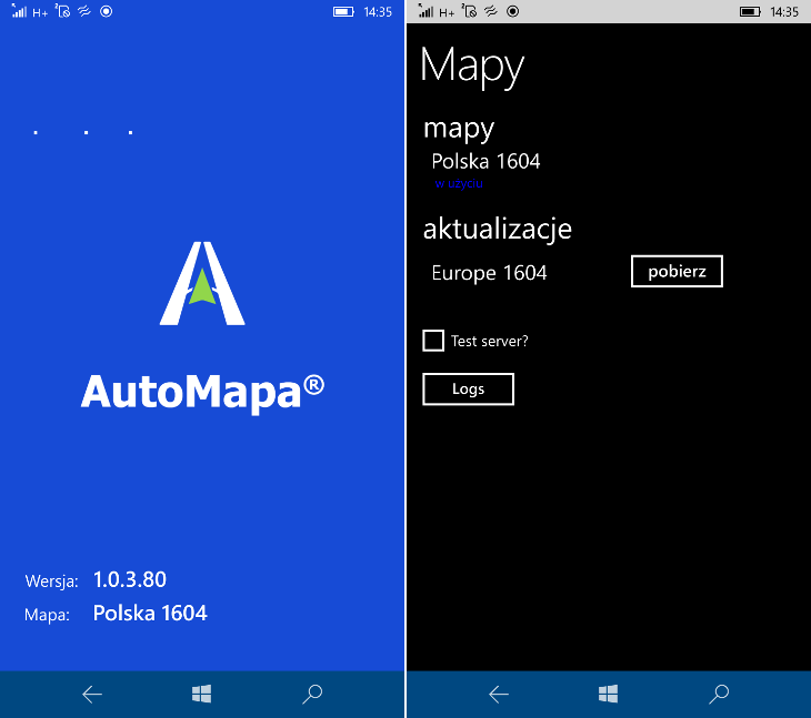 AutoMapa 1.0.3.80 dla Windows 10 Mobile
