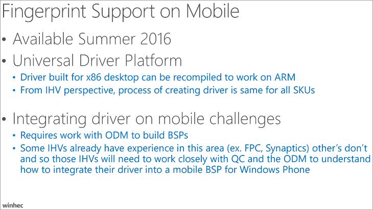 Czytnik linii papilarnych Windows 10 Mobile