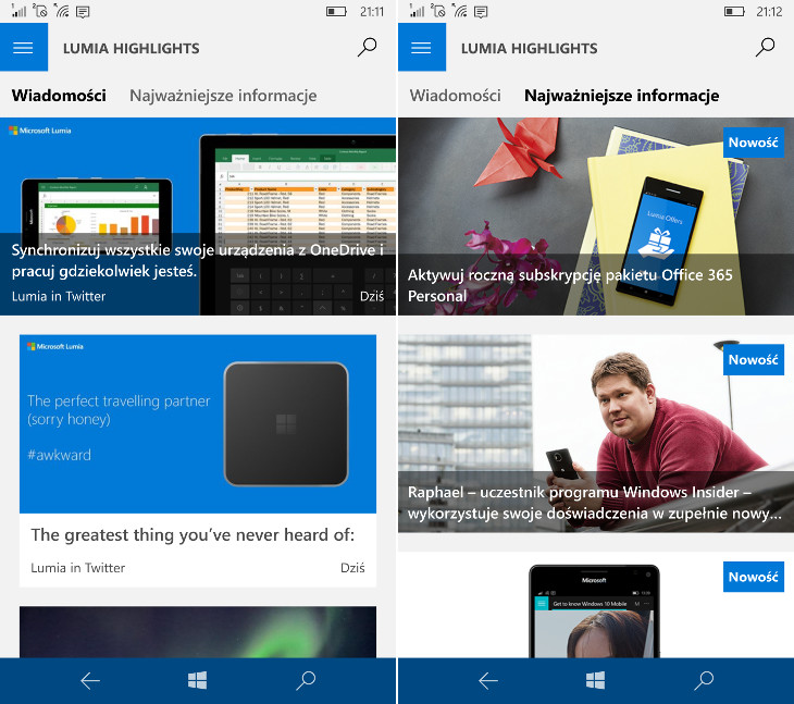 Lumia Highlights dla Windows 10 Mobile