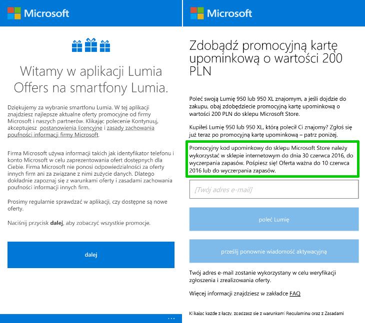Lumia Offers - bon 200zł