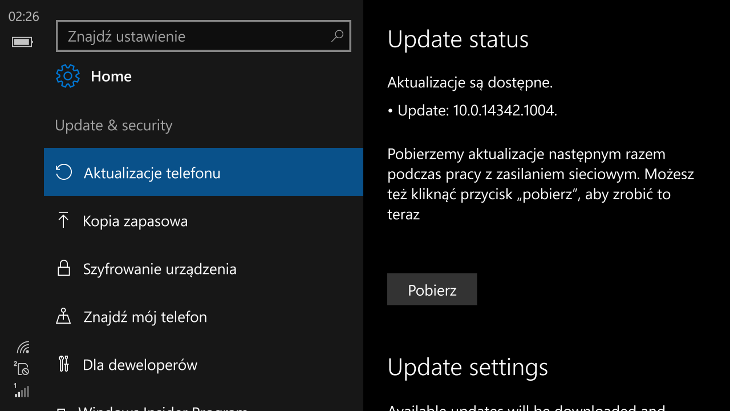 Windows 10 Mobile Build 14342.1004