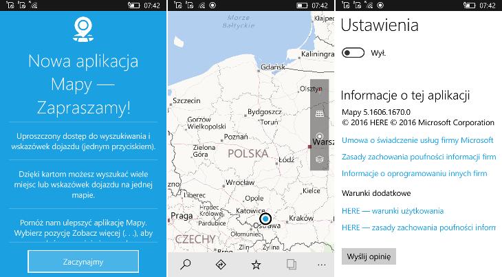 Mapy 5.1606.1670.0 dla Windows 10 Mobile