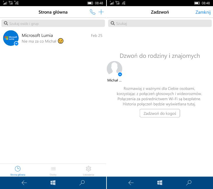 Messenger (Beta) - połączenia głosowe i wideorozmowy