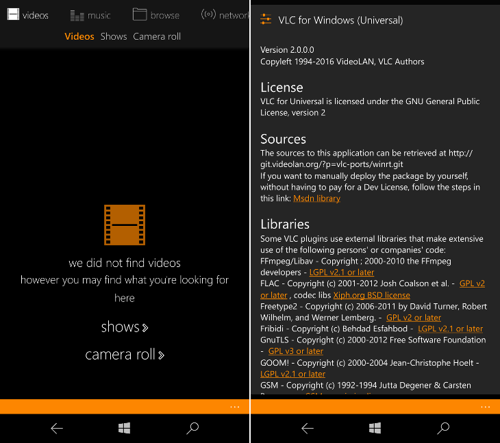 VLC 2.0 dla Windows 10 Mobile