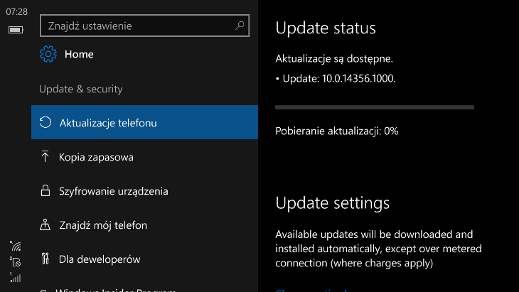 Windows 10 Mobile Build 14356