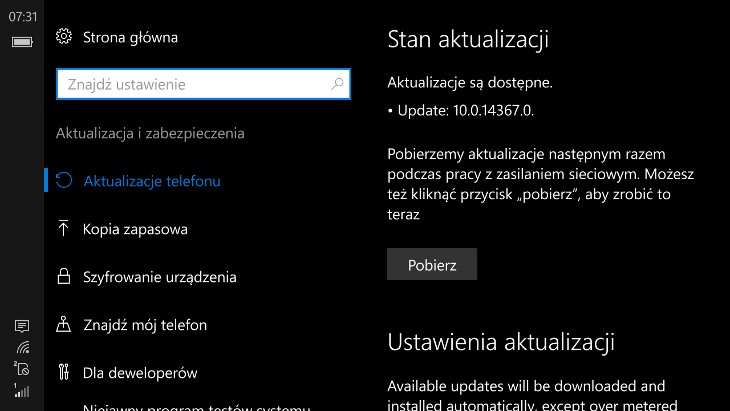 Windows 10 Mobile Build 14367
