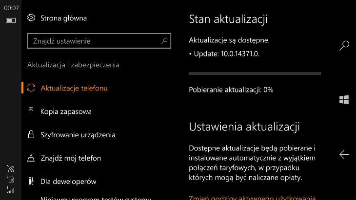 Windows 10 Mobile Build 14371