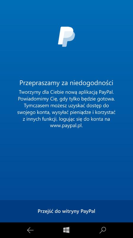 PayPal - komunikat o nowej aplikacji