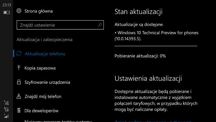 Windows 10 Mobile Build 14393.5