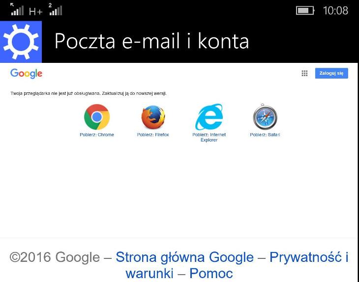 Logowanie Google na Windows 10 Mobile