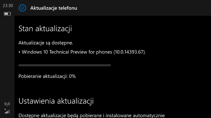 Windows 10 Mobile Build 14393.67