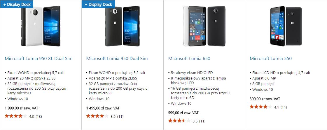 Ceny telefonów Lumia w sklepie Microsoft Store