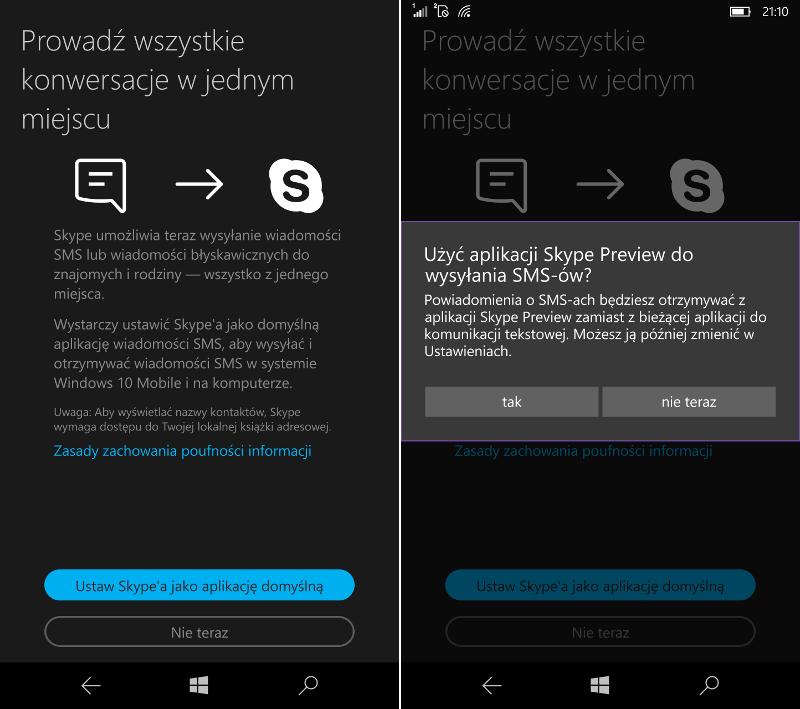 Skype Preview UWP z obsługą wiadomości SMS