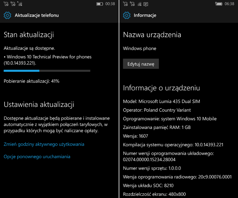 Windows 10 Mobile Build 14393.221