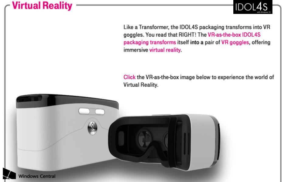 Alcatel IDOL 4S z okularami VR