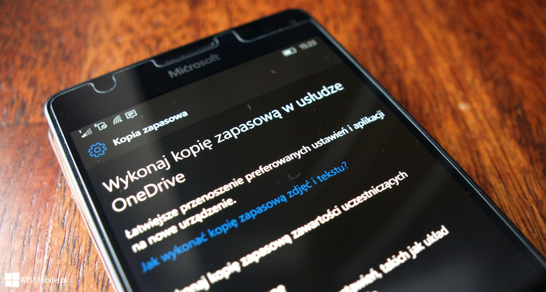 Kopia zapasowa Windows 10 Mobile