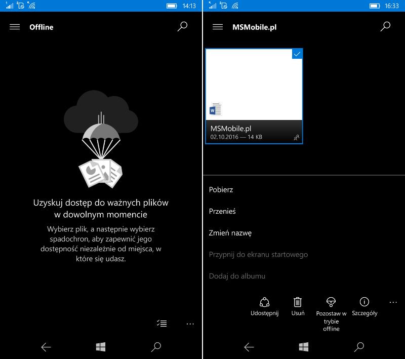OneDrive - tryb offline