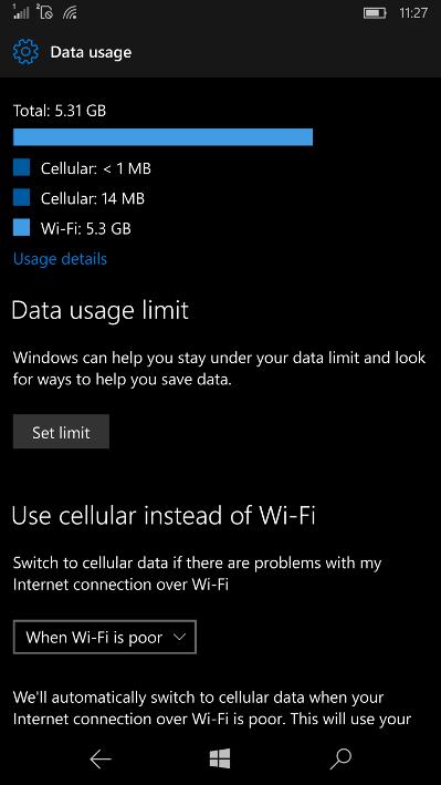 Build 14959 zużycie danych