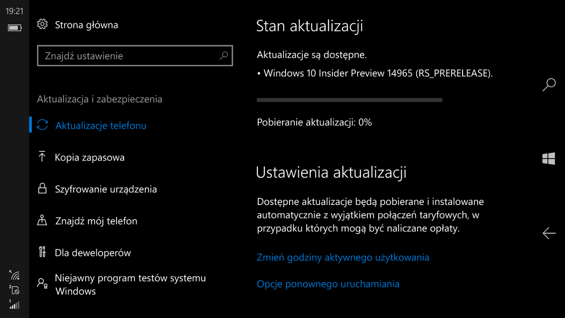 Windows 10 Mobile Build 14965