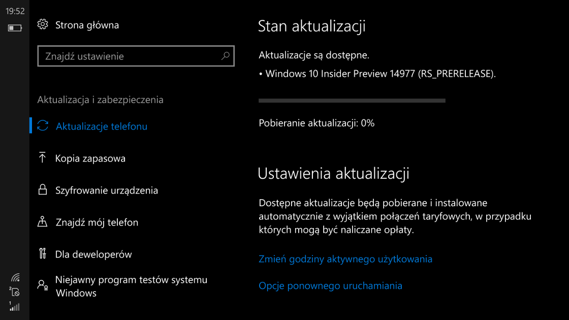 Windows 10 Mobile Build 14977