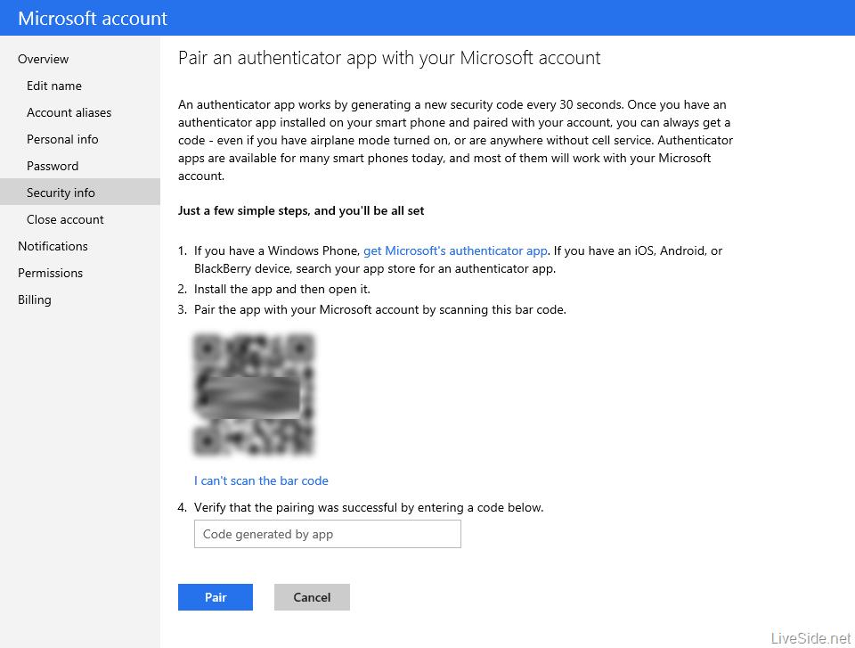 Parowanie aplikacji Authenticator z kontem Microsoft