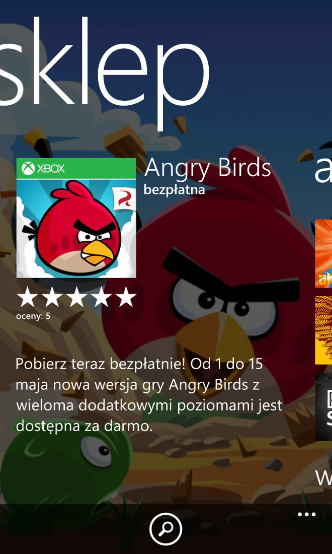 Darmowe Angry Birds w sklepie Windows Phone