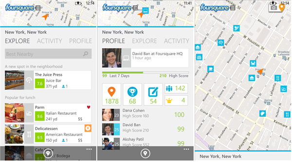Foursquare Windows Phone