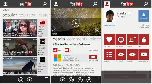 YouTube dla Windows Phone
