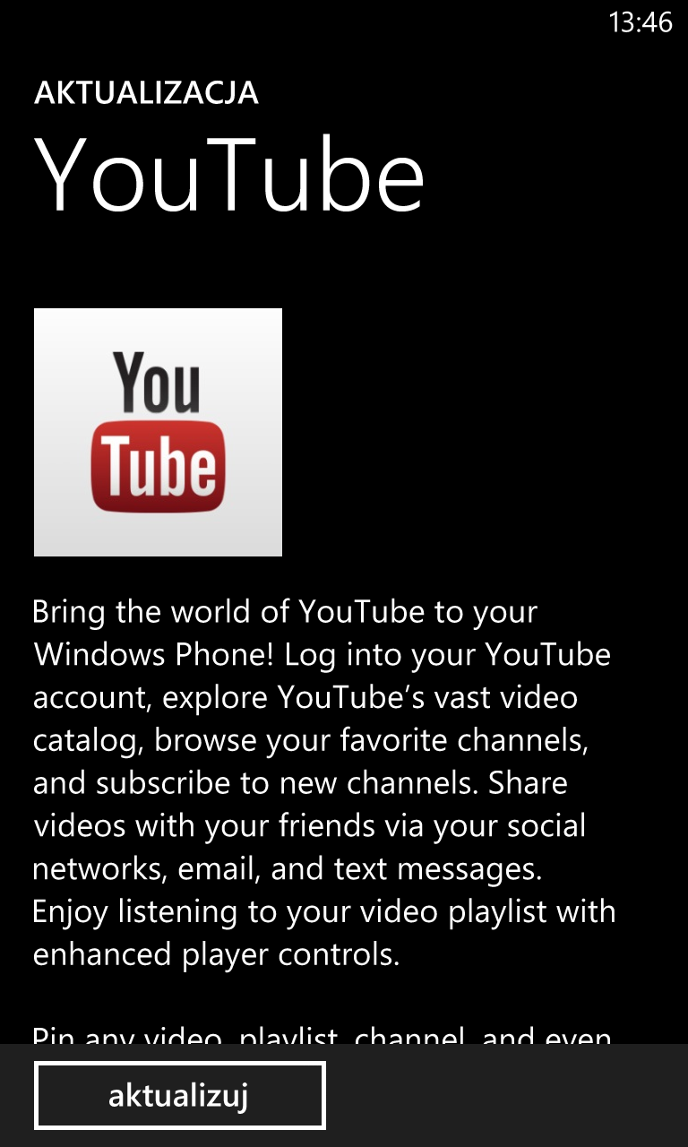 Aktualizacja YouTube Windows Phone