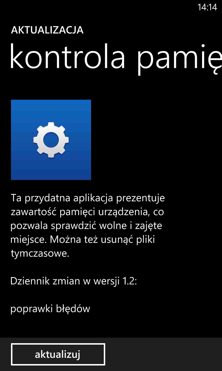Aktualizacja kontrola pamięci 1.2.1.2