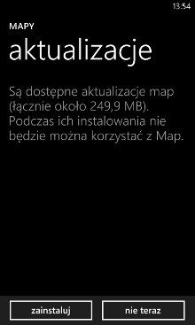 Aktualizacja map Nokia 8.0.50.116