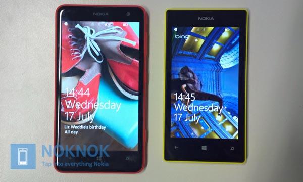 Porównanie rozmiarów telefonów - Nokia Lumia 625 i Nokia Lumia 520