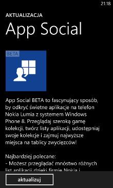 App Social Beta aktualizacja