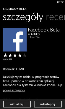 Facebook Beta 5.1.0.6 dla Windows Phone 8