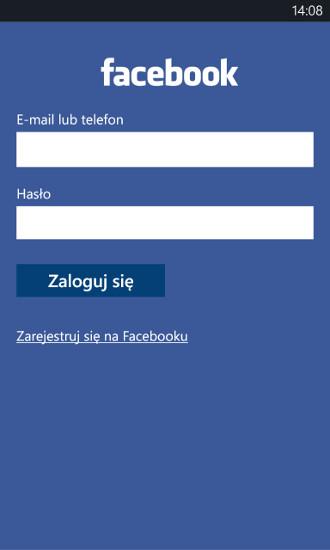 Facebook Beta - logowanie