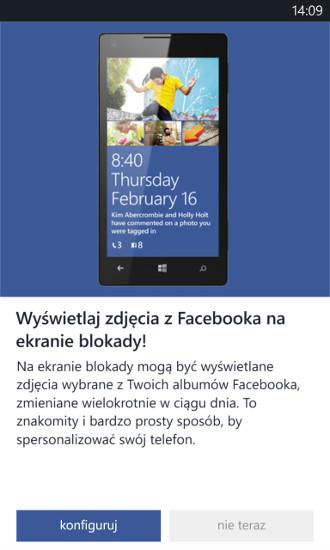 Facebook Beta - zdjęcia na ekranie blokady