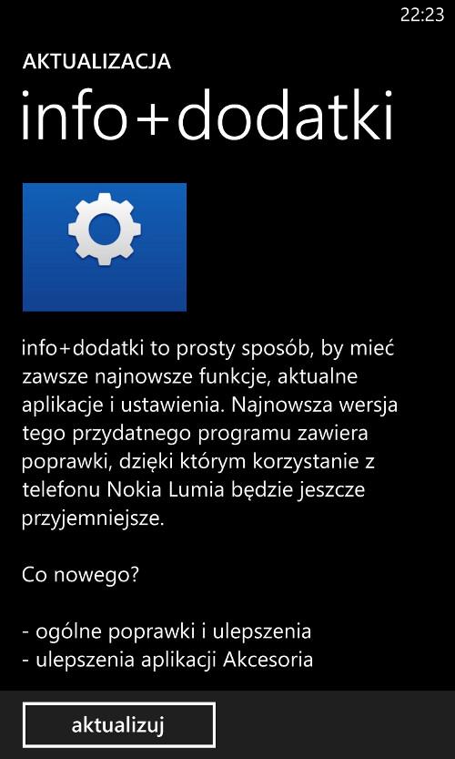 Aktualizacja info+dodatki 3.0.6.1 - Nokia Lumia