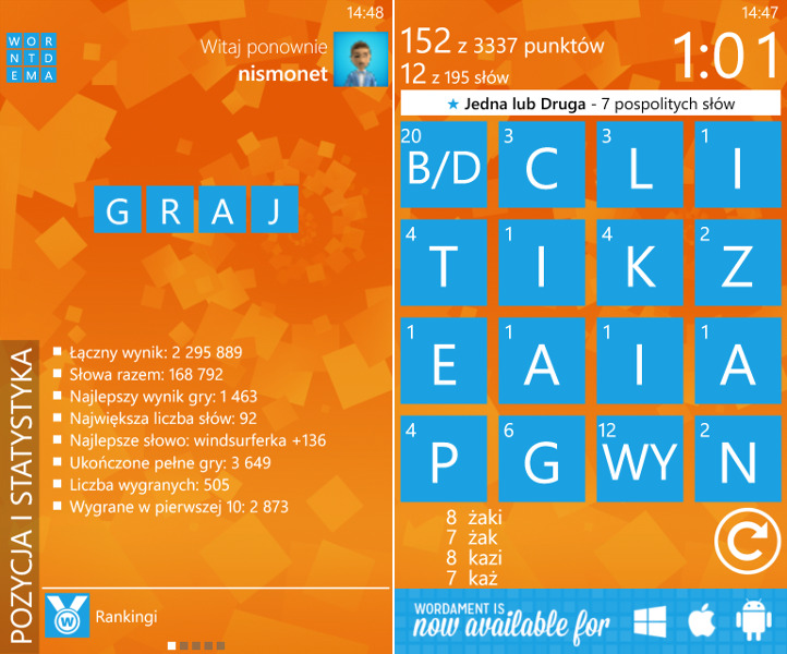 Wordament dla Windows Phone