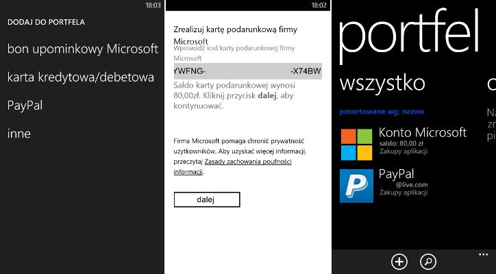 Portfel - kod upominkowy Microsoft World of Apps (Świat aplikacji)