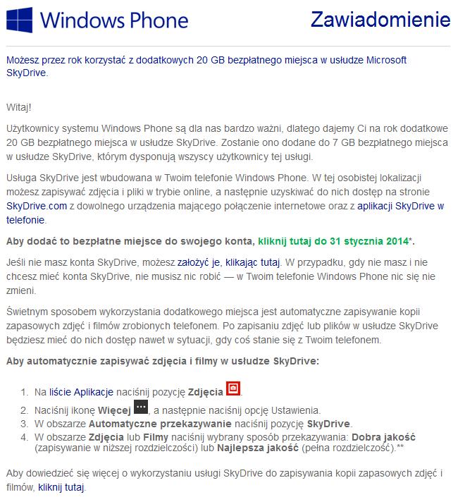 Microsoft - SkyDrive 20GB darmowej przestrzeni