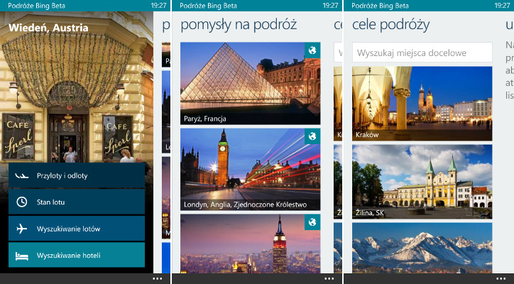 Podróże Bing Beta dla Windows Phone 8