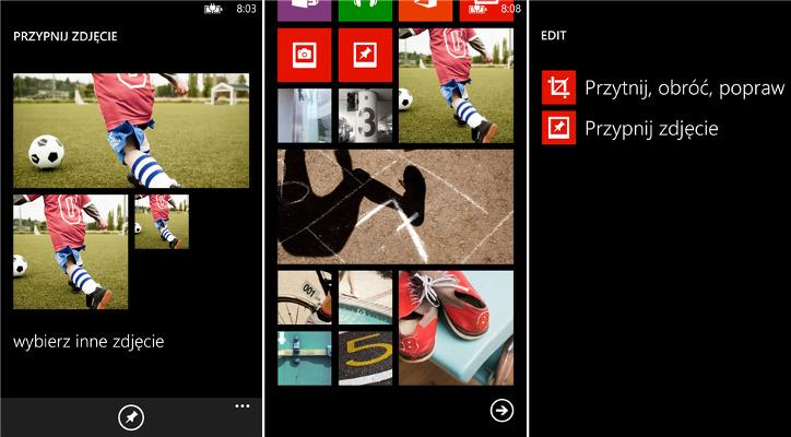 Przypnij zdjęcie do ekranu startowego Windows Phone