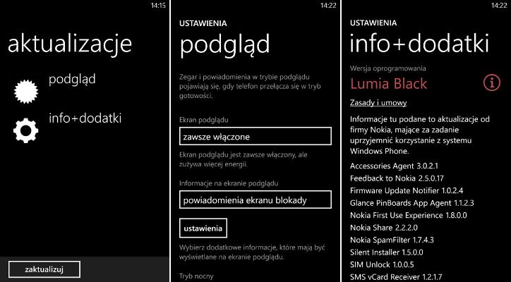 Aktualizacja podgląd i info+dodatki Nokia Lumia