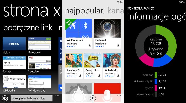 Aktualizacje App Social, kontrola pamięci, Xpress Browser
