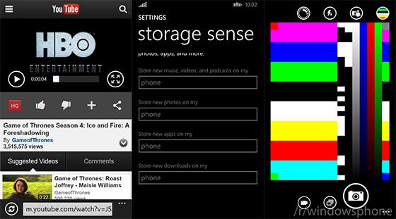 Windows Phone 8.1 - YouTube, Storage Sense, aplikacja aparatu